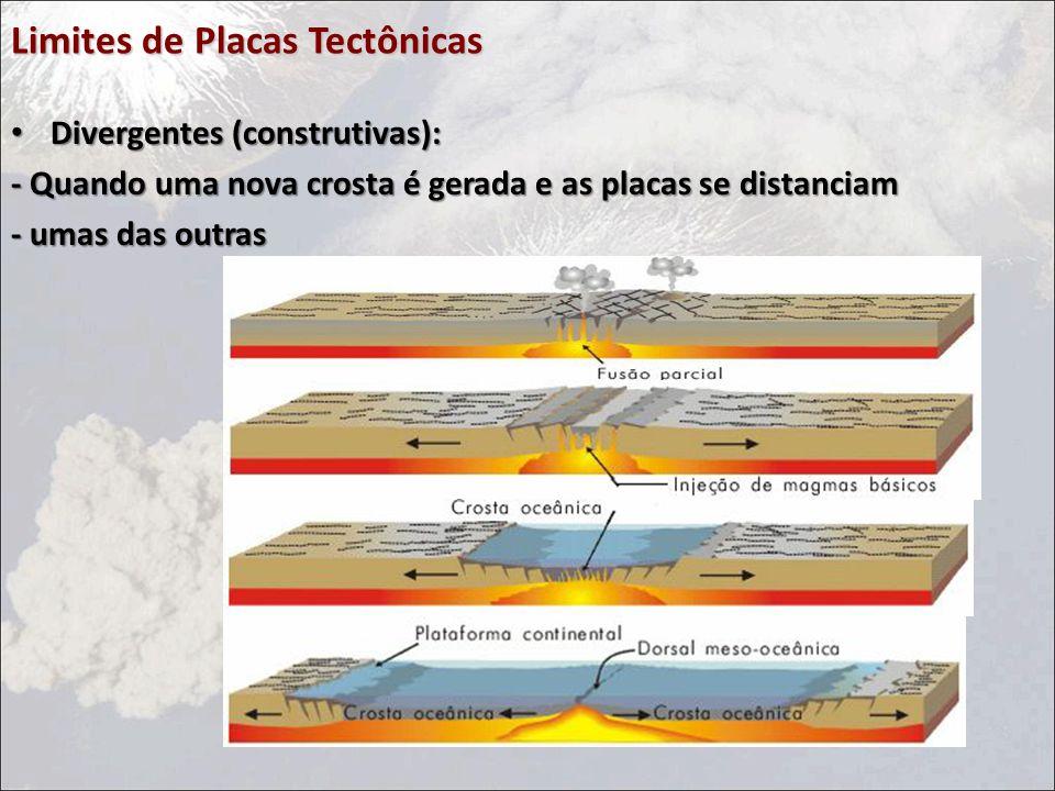 Limites de Placas Tectônicas Divergentes (construtivas): Divergentes (construtivas): - Quando uma nova crosta é gerada e as placas se distanciam - umas das outras