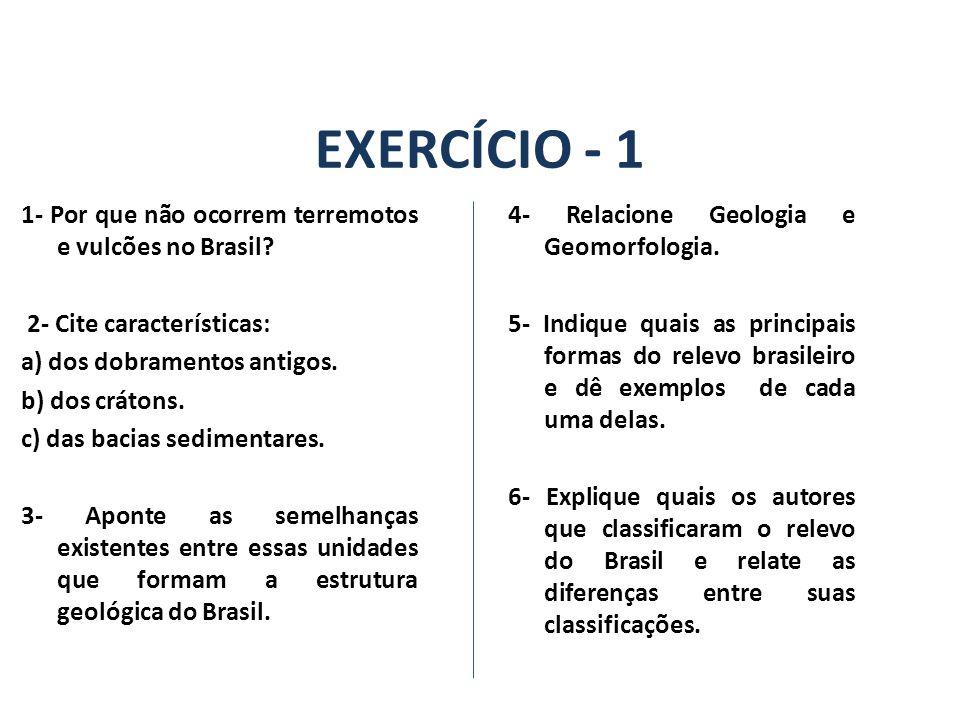 EXERCÍCIO - 1 1- Por que não ocorrem terremotos e vulcões no Brasil.