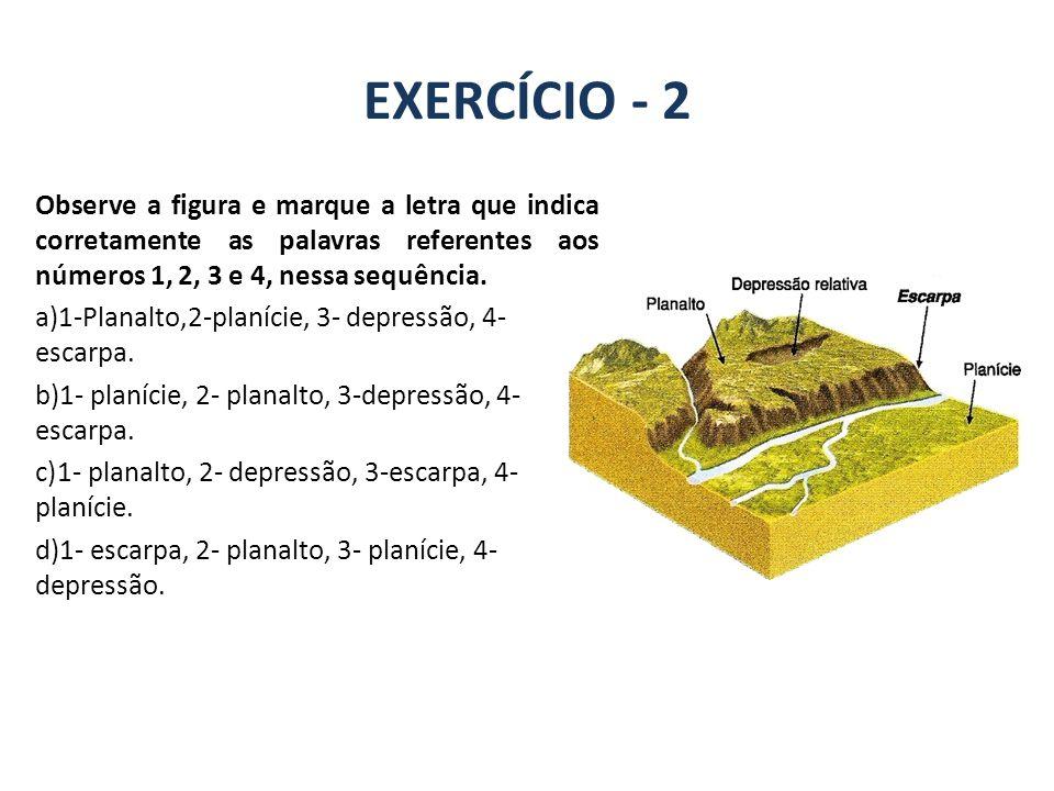 EXERCÍCIO - 2 GEOGRAFIA, 7º Ano A estrutura geológica do Brasil e sua relação com a formação do relevo Observe a figura e marque a letra que indica corretamente as palavras referentes aos números 1, 2, 3 e 4, nessa sequência.