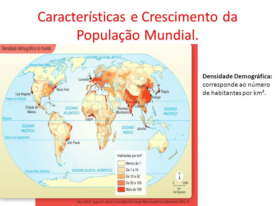 Características e Crescimento da População Mundial. Densidade Demográfica: corresponde ao número de habitantes por km².