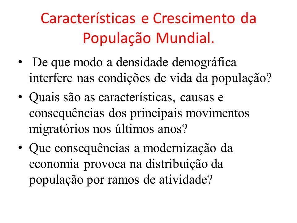 Características e Crescimento da População Mundial. De que modo a densidade demográfica interfere nas condições de vida da população? Quais são as car