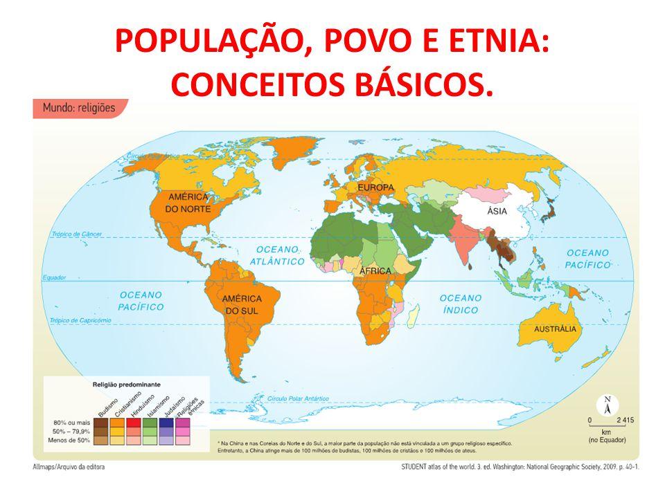 População Absoluta: número total de habitantes. População Relativa: número de habitantes por km².