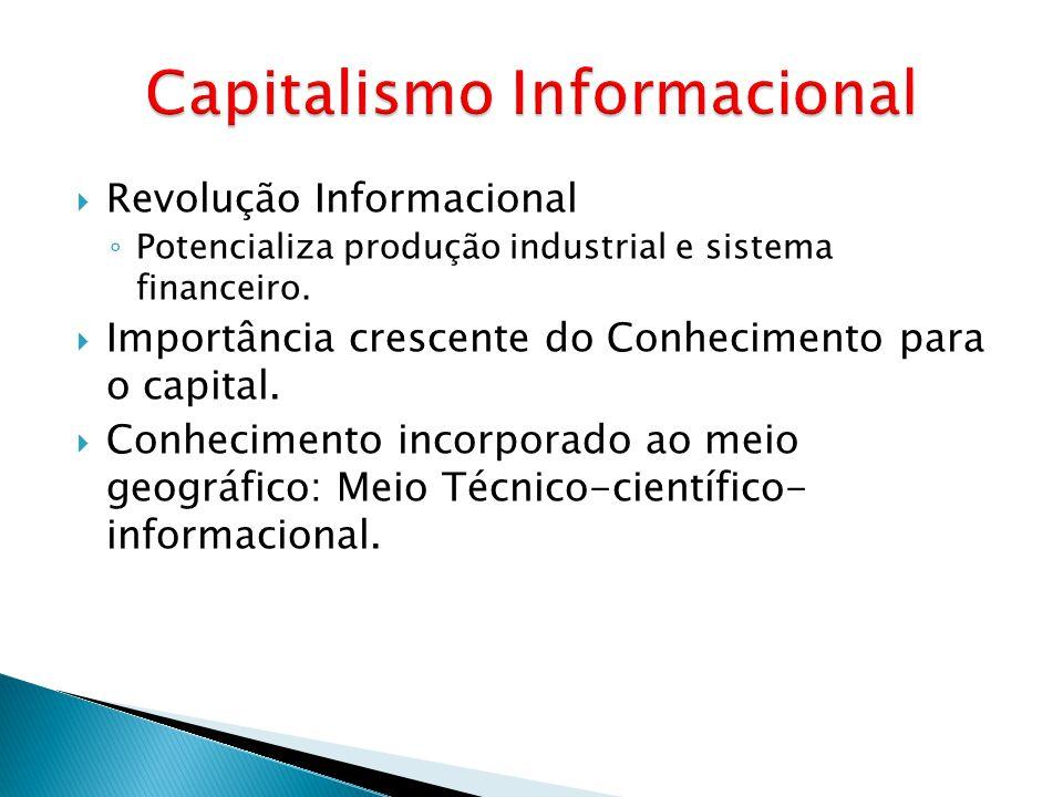  Revolução Informacional ◦ Potencializa produção industrial e sistema financeiro.  Importância crescente do Conhecimento para o capital.  Conhecime