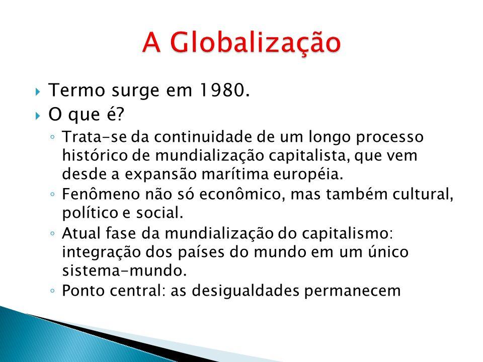  Termo surge em 1980.  O que é? ◦ Trata-se da continuidade de um longo processo histórico de mundialização capitalista, que vem desde a expansão mar