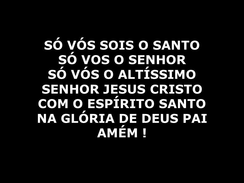 SÓ VÓS SOIS O SANTO SÓ VOS O SENHOR SÓ VÓS O ALTÍSSIMO SENHOR JESUS CRISTO COM O ESPÍRITO SANTO NA GLÓRIA DE DEUS PAI AMÉM !