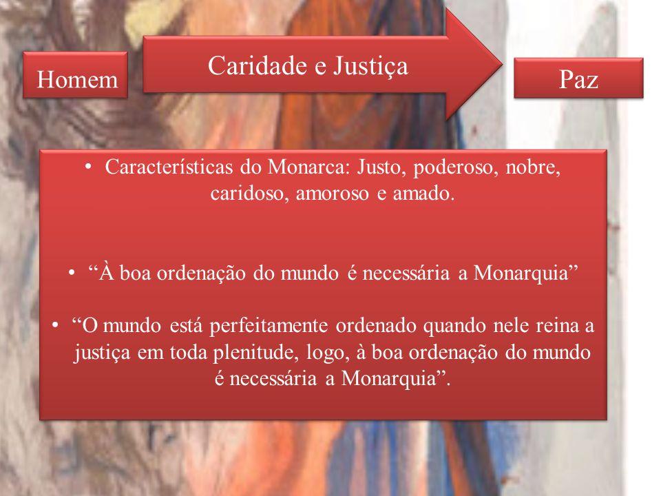 Homem Caridade e Justiça Paz Características do Monarca: Justo, poderoso, nobre, caridoso, amoroso e amado.