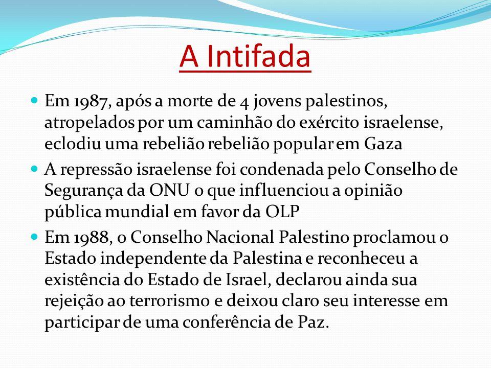 A Intifada Em 1987, após a morte de 4 jovens palestinos, atropelados por um caminhão do exército israelense, eclodiu uma rebelião rebelião popular em Gaza A repressão israelense foi condenada pelo Conselho de Segurança da ONU o que influenciou a opinião pública mundial em favor da OLP Em 1988, o Conselho Nacional Palestino proclamou o Estado independente da Palestina e reconheceu a existência do Estado de Israel, declarou ainda sua rejeição ao terrorismo e deixou claro seu interesse em participar de uma conferência de Paz.