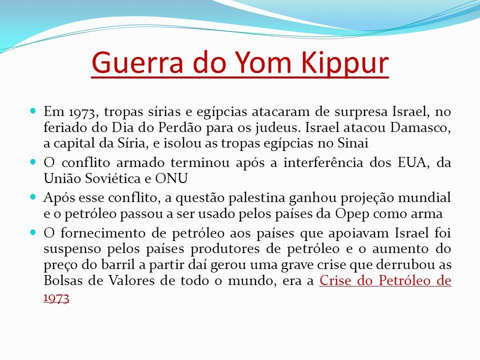 Guerra do Yom Kippur Em 1973, tropas sírias e egípcias atacaram de surpresa Israel, no feriado do Dia do Perdão para os judeus.