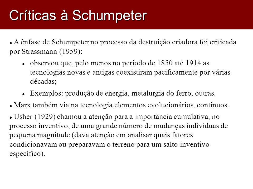 A ênfase de Schumpeter no processo da destruição criadora foi criticada por Strassmann (1959): observou que, pelo menos no período de 1850 até 1914 as tecnologias novas e antigas coexistiram pacificamente por várias décadas; Exemplos: produção de energia, metalurgia do ferro, outras.
