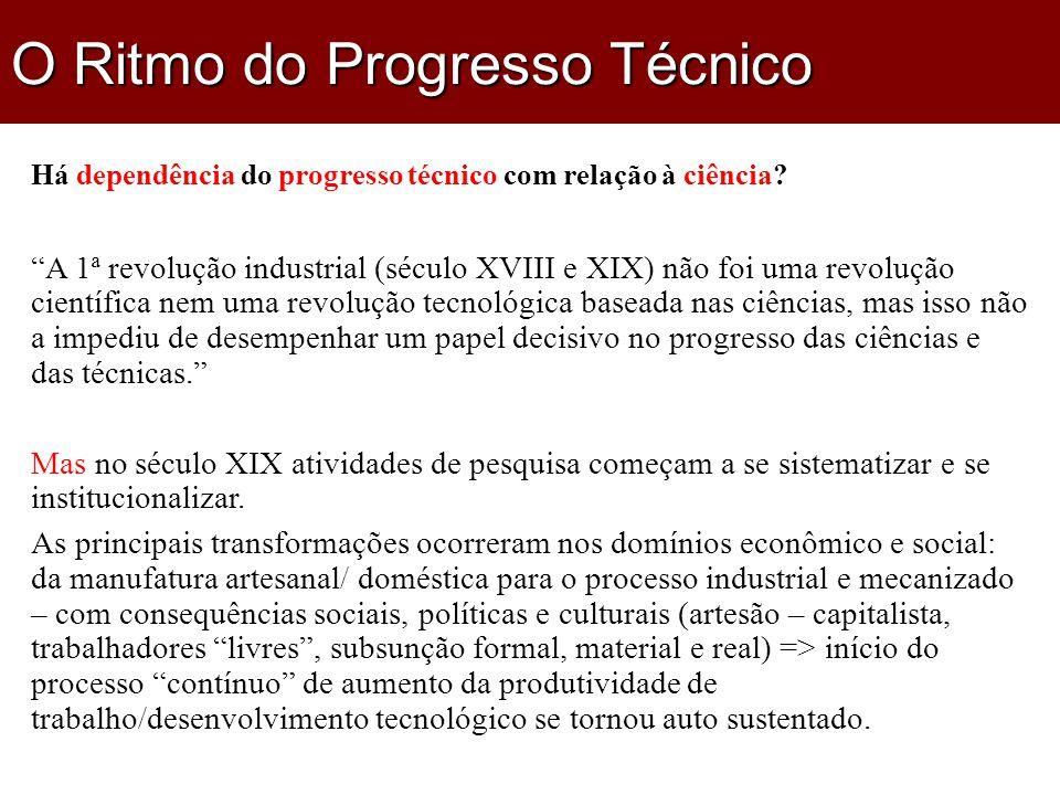 Há dependência do progresso técnico com relação à ciência.