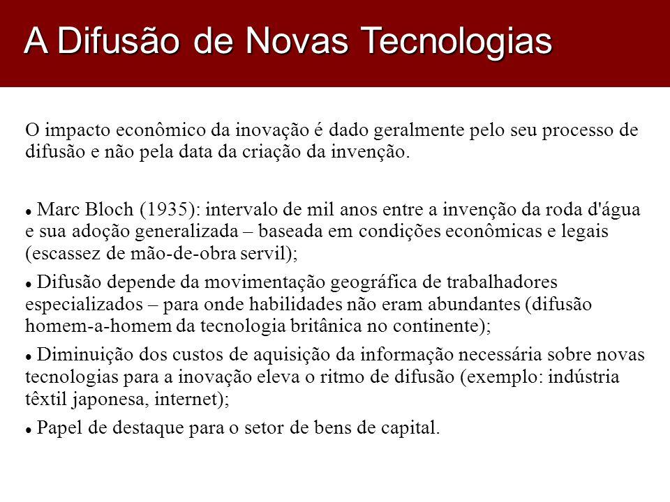 O impacto econômico da inovação é dado geralmente pelo seu processo de difusão e não pela data da criação da invenção.