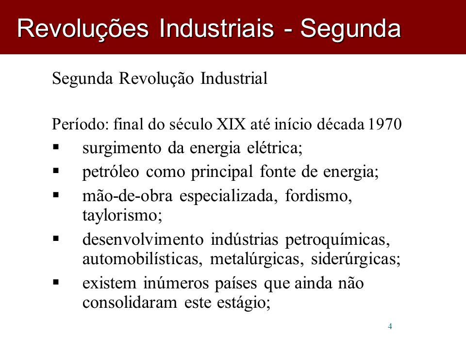 5 Terceira Revolução Industrial/Revolução Técnico-Científica Período: 1970 - nova divisão do trabalho (pós-fordismo) e novas formas de gestão; desenvolvimento da informática e dos meios de comunicação; robótica, microeletrônica, química fina, biotecnologia, nanotecnologia, etc.