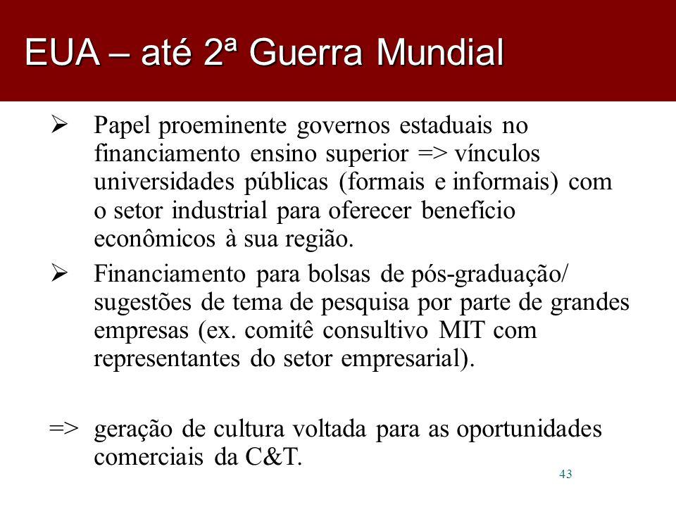 43  Papel proeminente governos estaduais no financiamento ensino superior => vínculos universidades públicas (formais e informais) com o setor industrial para oferecer benefício econômicos à sua região.