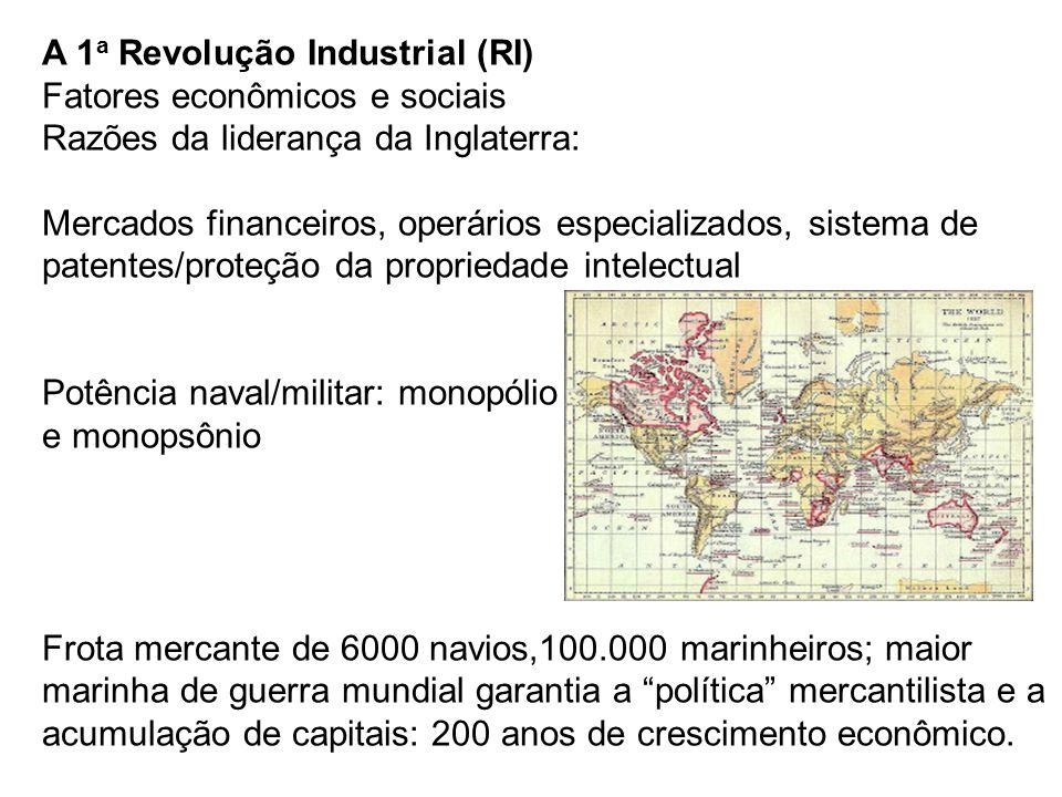 A 1 a Revolução Industrial (RI) Fatores econômicos e sociais Razões da liderança da Inglaterra: Mercados financeiros, operários especializados, sistem