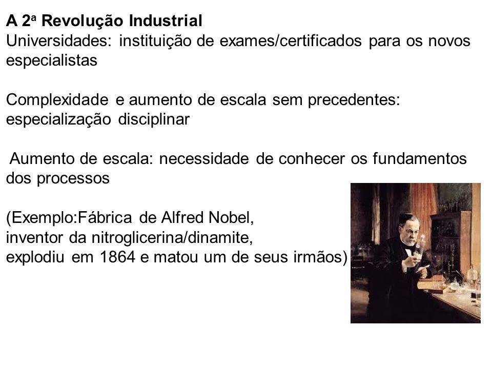 A 2 a Revolução Industrial Universidades: instituição de exames/certificados para os novos especialistas Complexidade e aumento de escala sem preceden