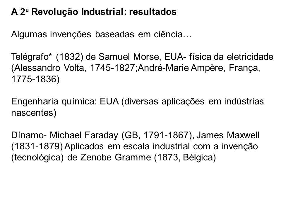 A 2 a Revolução Industrial: resultados Algumas invenções baseadas em ciência… Telégrafo* (1832) de Samuel Morse, EUA- física da eletricidade (Alessand