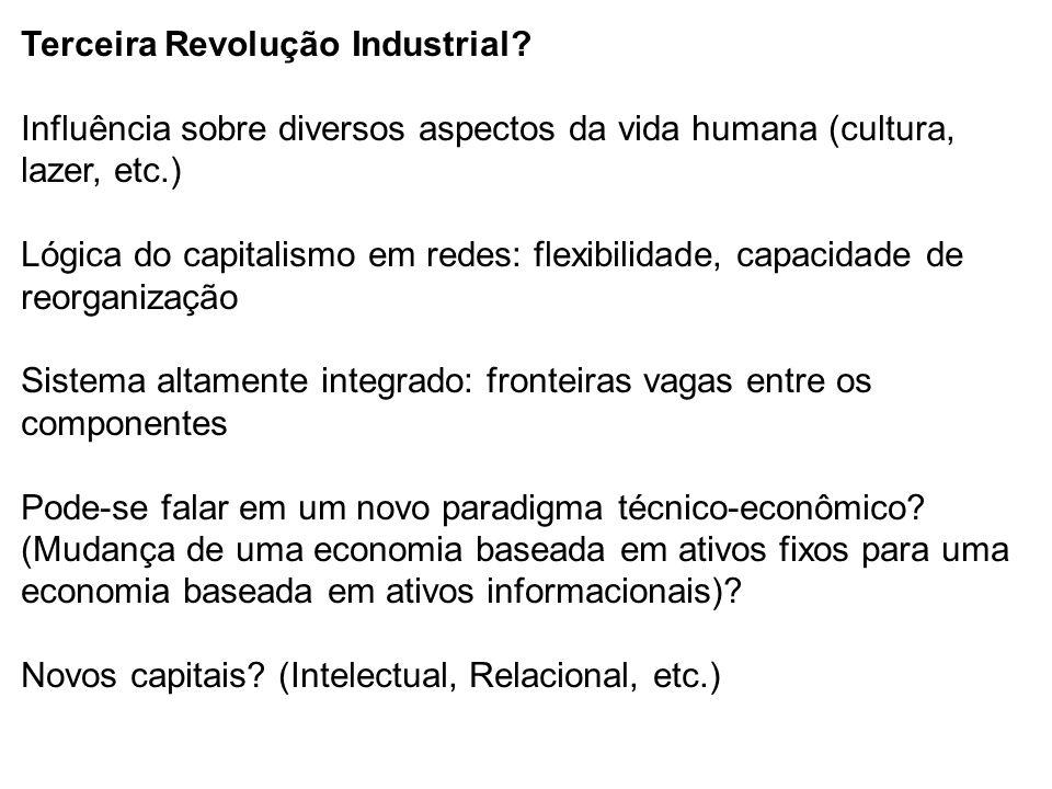 Terceira Revolução Industrial? Influência sobre diversos aspectos da vida humana (cultura, lazer, etc.) Lógica do capitalismo em redes: flexibilidade,