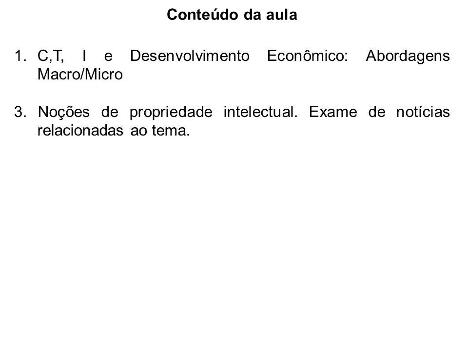 Conteúdo da aula 1.C,T, I e Desenvolvimento Econômico: Abordagens Macro/Micro 3. Noções de propriedade intelectual. Exame de notícias relacionadas ao