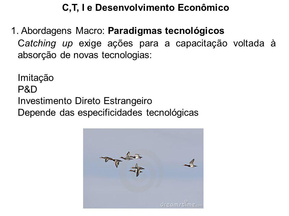 C,T, I e Desenvolvimento Econômico 1. Abordagens Macro: Paradigmas tecnológicos Catching up exige ações para a capacitação voltada à absorção de novas
