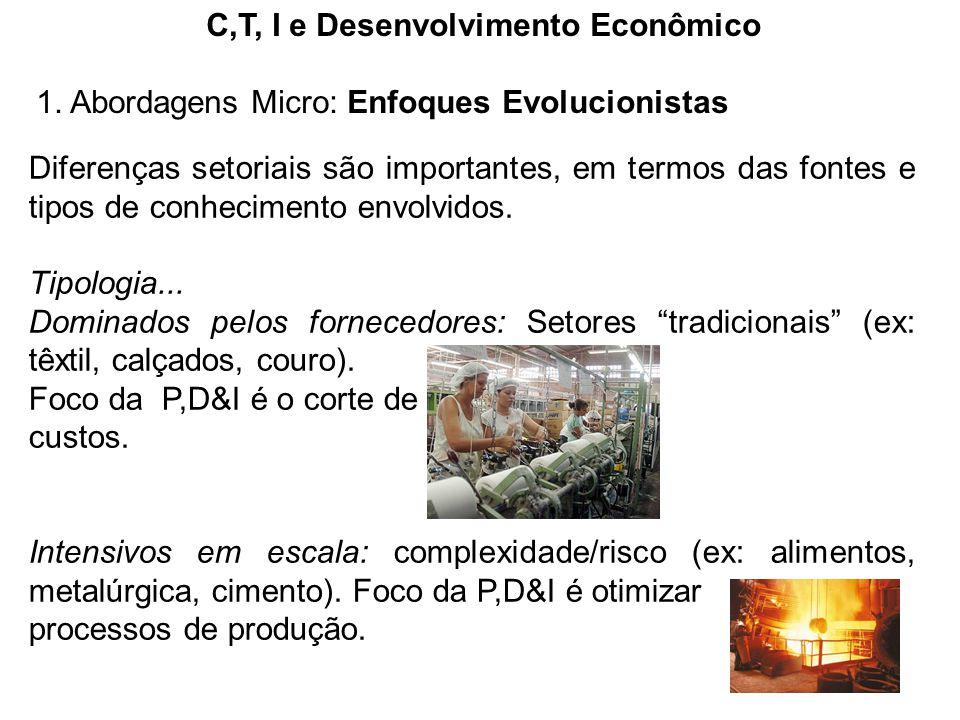 C,T, I e Desenvolvimento Econômico 1. Abordagens Micro: Enfoques Evolucionistas Diferenças setoriais são importantes, em termos das fontes e tipos de