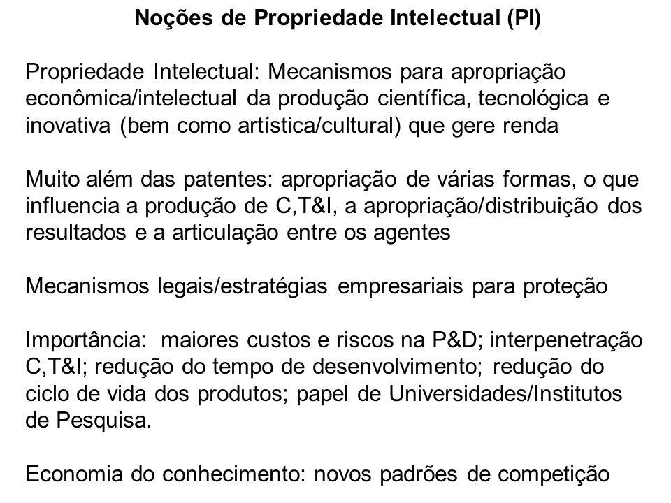 Noções de Propriedade Intelectual (PI) Propriedade Intelectual: Mecanismos para apropriação econômica/intelectual da produção científica, tecnológica