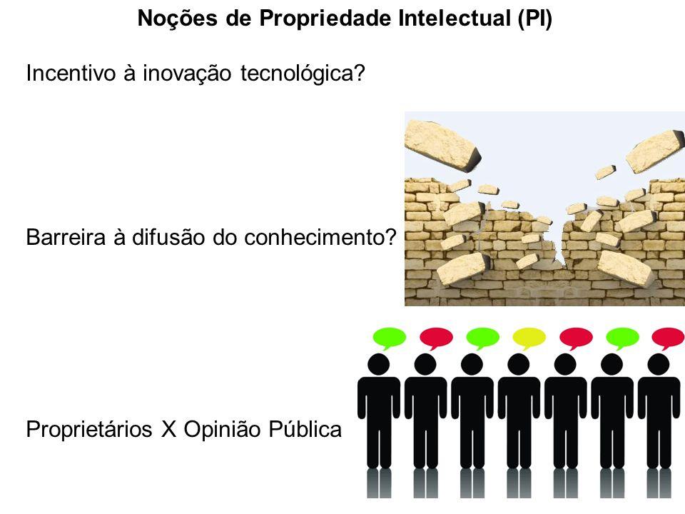 Noções de Propriedade Intelectual (PI) Incentivo à inovação tecnológica? Barreira à difusão do conhecimento? Proprietários X Opinião Pública
