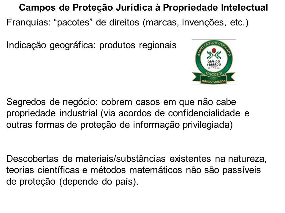 """Campos de Proteção Jurídica à Propriedade Intelectual Franquias: """"pacotes"""" de direitos (marcas, invenções, etc.) Indicação geográfica: produtos region"""
