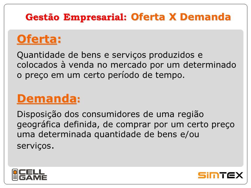 Gestão Empresarial: Oferta X Demanda Oferta: Demanda : Quantidade de bens e serviços produzidos e colocados à venda no mercado por um determinado o pr