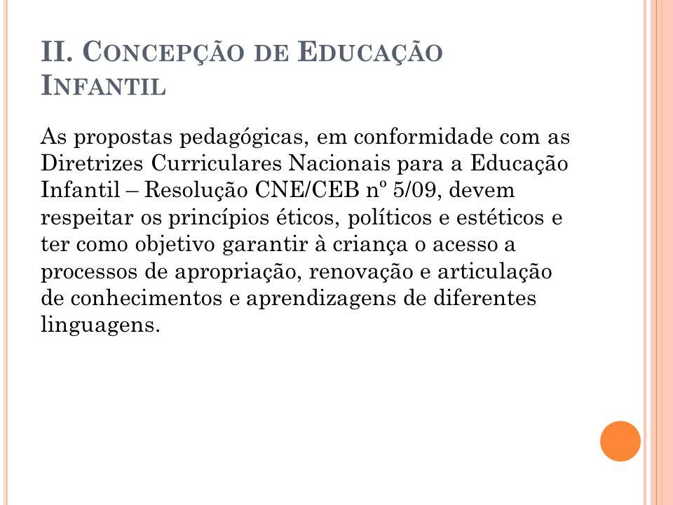 II. C ONCEPÇÃO DE E DUCAÇÃO I NFANTIL As propostas pedagógicas, em conformidade com as Diretrizes Curriculares Nacionais para a Educação Infantil – Re