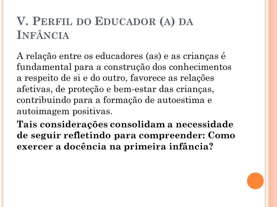 V. P ERFIL DO E DUCADOR ( A ) DA I NFÂNCIA A relação entre os educadores (as) e as crianças é fundamental para a construção dos conhecimentos a respei