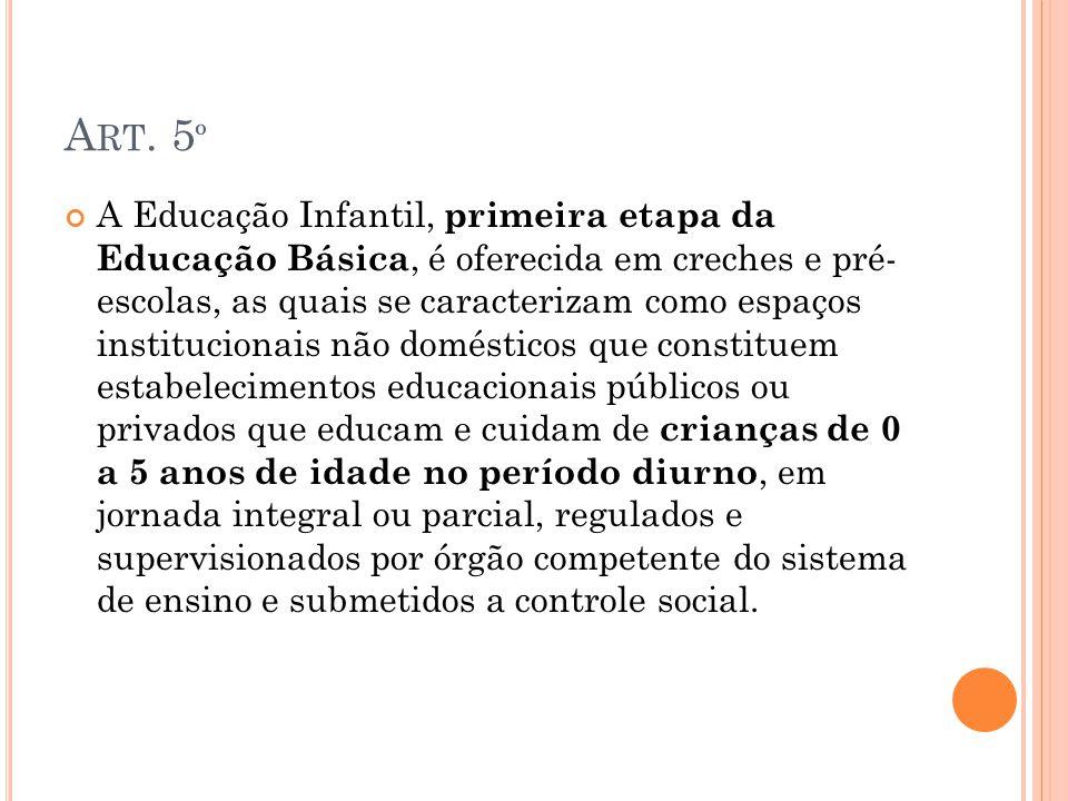 A RT. 5 º A Educação Infantil, primeira etapa da Educação Básica, é oferecida em creches e pré- escolas, as quais se caracterizam como espaços institu