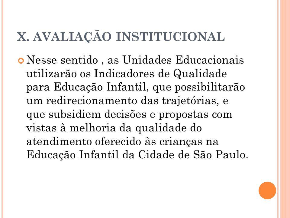 X. AVALIAÇÃO INSTITUCIONAL Nesse sentido, as Unidades Educacionais utilizarão os Indicadores de Qualidade para Educação Infantil, que possibilitarão u