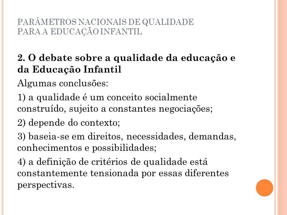 PARÂMETROS NACIONAIS DE QUALIDADE PARA A EDUCAÇÃO INFANTIL 2. O debate sobre a qualidade da educação e da Educação Infantil Algumas conclusões: 1) a q