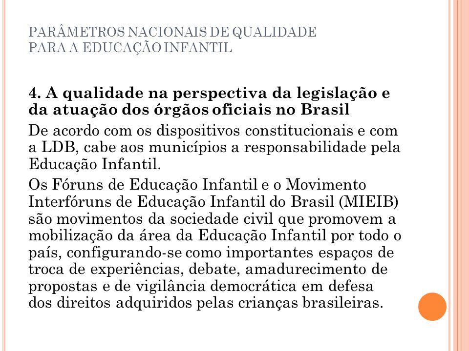 PARÂMETROS NACIONAIS DE QUALIDADE PARA A EDUCAÇÃO INFANTIL 4. A qualidade na perspectiva da legislação e da atuação dos órgãos oficiais no Brasil De a