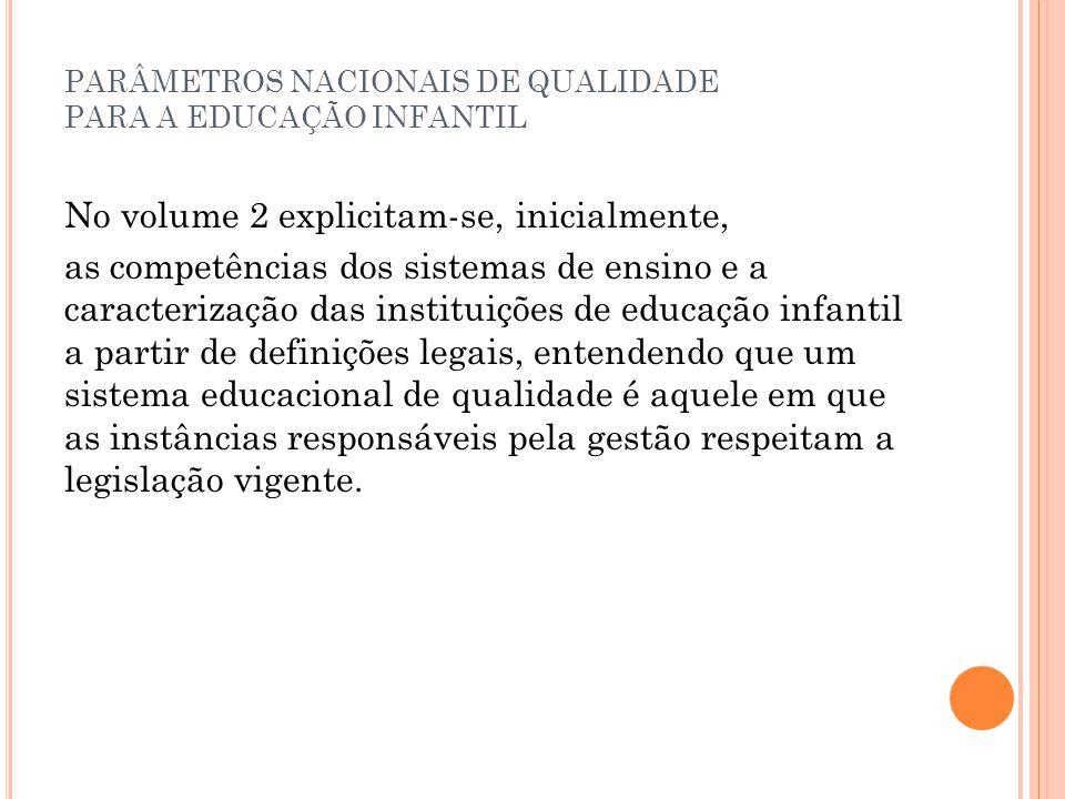 PARÂMETROS NACIONAIS DE QUALIDADE PARA A EDUCAÇÃO INFANTIL No volume 2 explicitam-se, inicialmente, as competências dos sistemas de ensino e a caracte