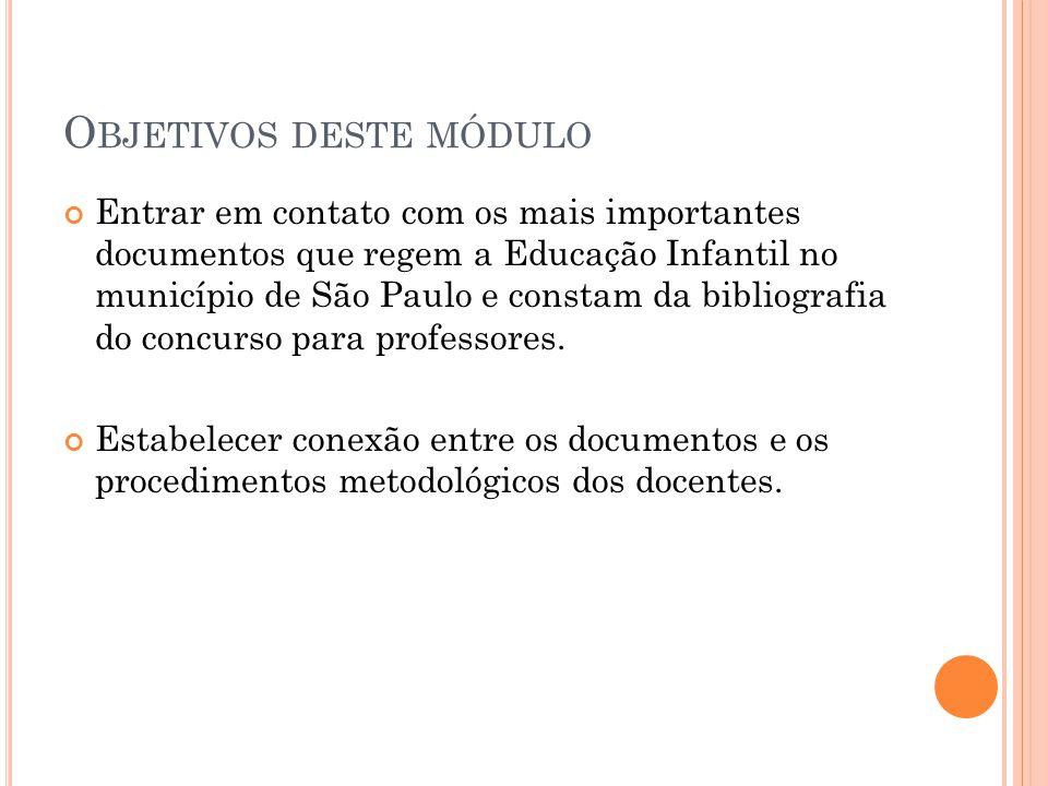 O BJETIVOS DESTE MÓDULO Entrar em contato com os mais importantes documentos que regem a Educação Infantil no município de São Paulo e constam da bibl