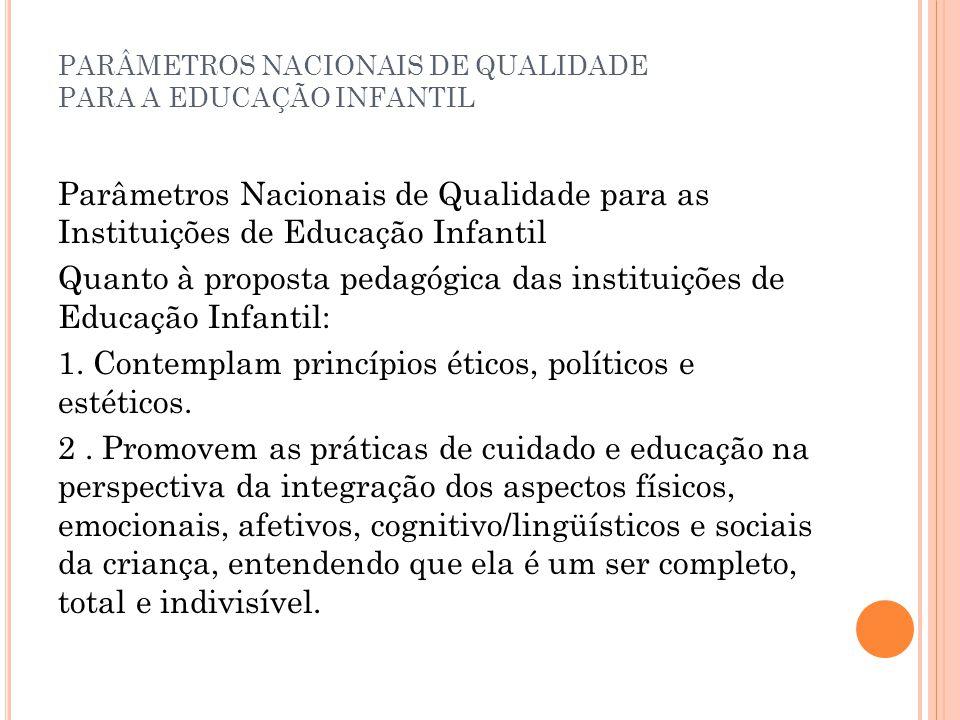 PARÂMETROS NACIONAIS DE QUALIDADE PARA A EDUCAÇÃO INFANTIL Parâmetros Nacionais de Qualidade para as Instituições de Educação Infantil Quanto à propos