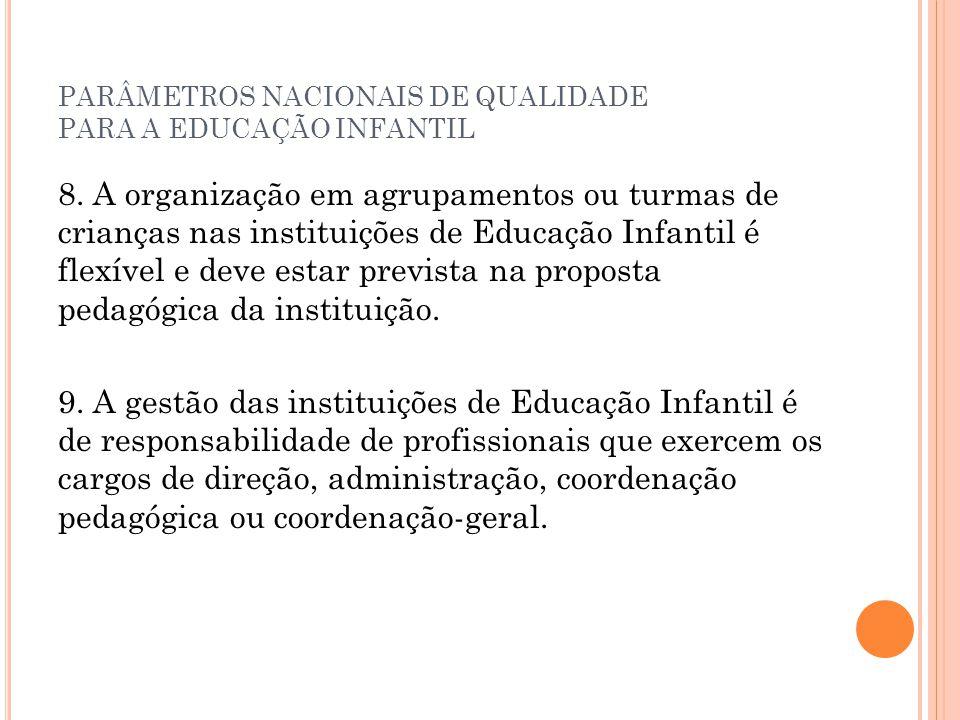 PARÂMETROS NACIONAIS DE QUALIDADE PARA A EDUCAÇÃO INFANTIL 8. A organização em agrupamentos ou turmas de crianças nas instituições de Educação Infanti