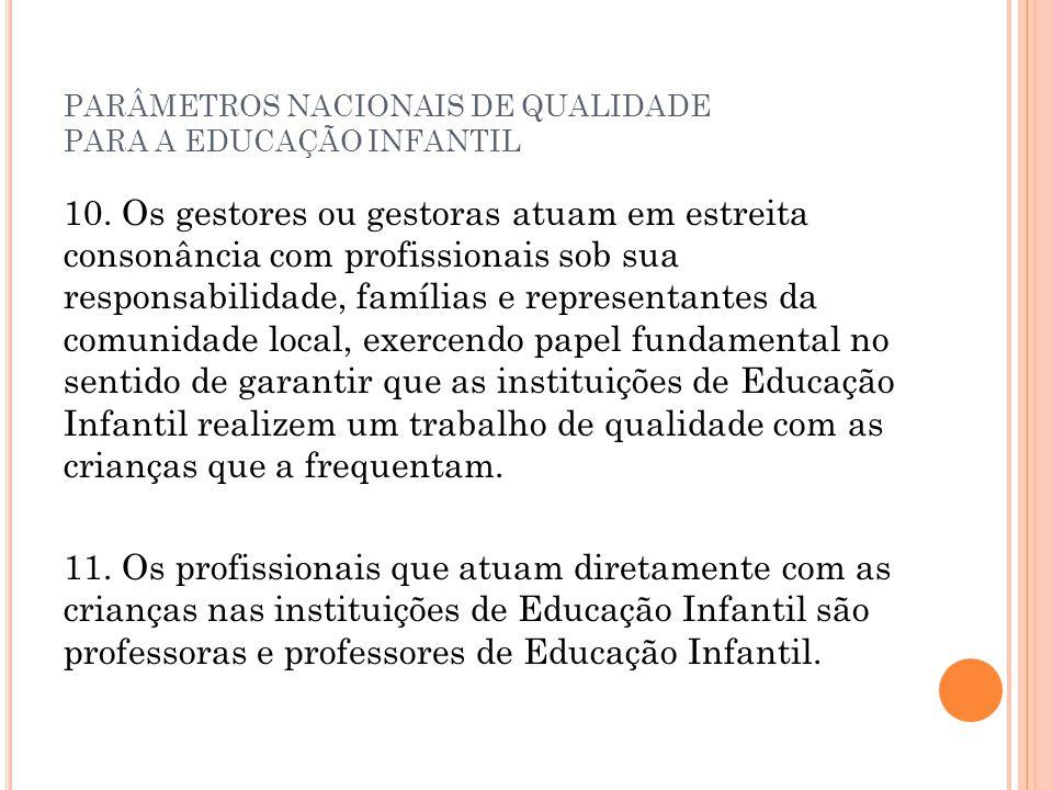 PARÂMETROS NACIONAIS DE QUALIDADE PARA A EDUCAÇÃO INFANTIL 10. Os gestores ou gestoras atuam em estreita consonância com profissionais sob sua respons