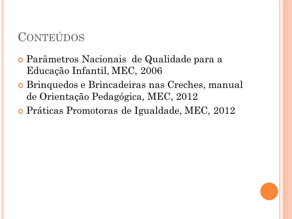C ONTEÚDOS Parâmetros Nacionais de Qualidade para a Educação Infantil, MEC, 2006 Brinquedos e Brincadeiras nas Creches, manual de Orientação Pedagógic