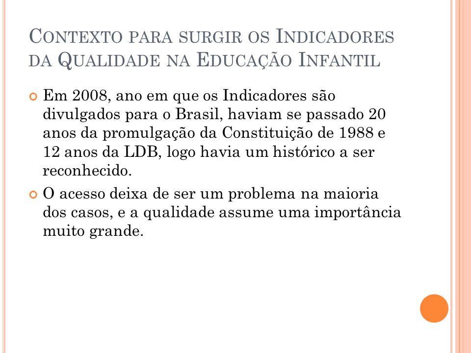 C ONTEXTO PARA SURGIR OS I NDICADORES DA Q UALIDADE NA E DUCAÇÃO I NFANTIL Em 2008, ano em que os Indicadores são divulgados para o Brasil, haviam se