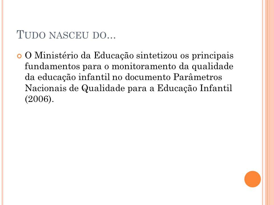 T UDO NASCEU DO... O Ministério da Educação sintetizou os principais fundamentos para o monitoramento da qualidade da educação infantil no documento P