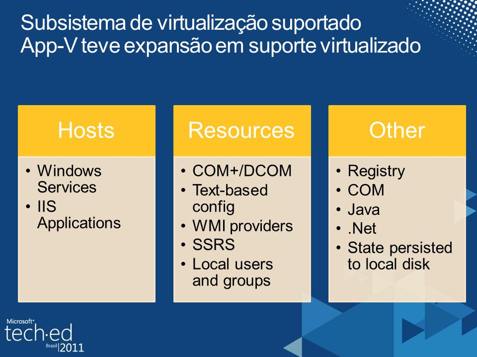 Hosts Windows Services IIS Applications Resources COM+/DCOM Text-based config WMI providers SSRS Local users and groups Other Registry COM Java.Net St