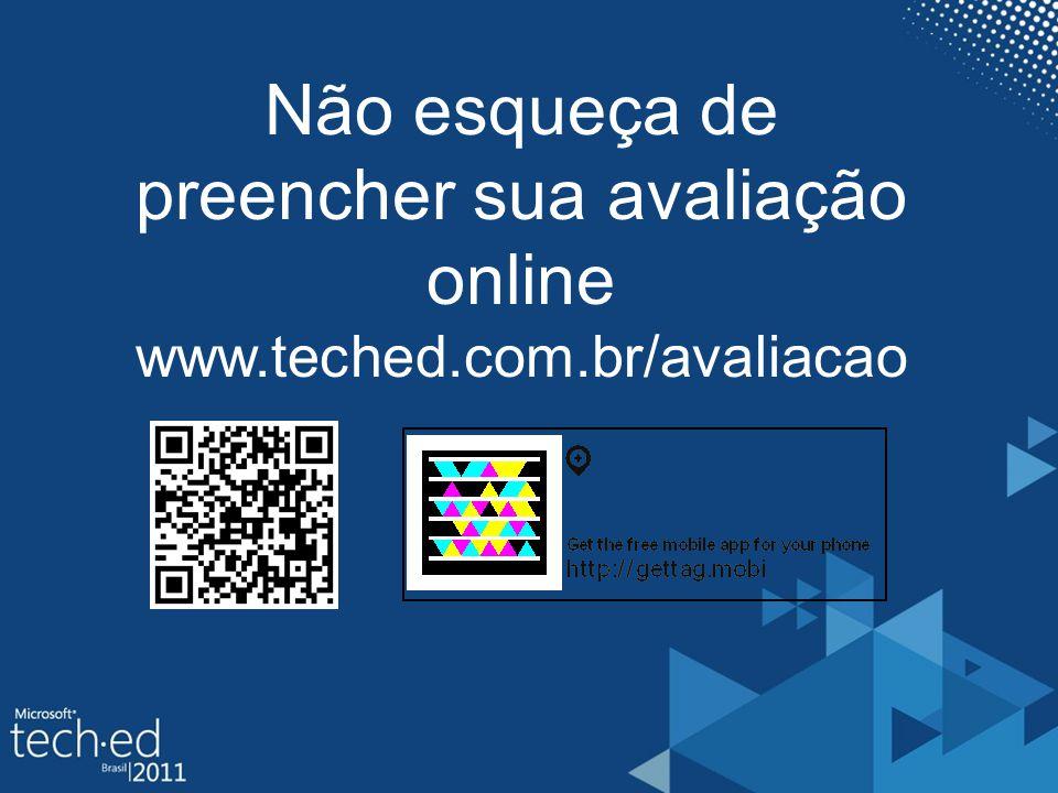 Não esqueça de preencher sua avaliação online www.teched.com.br/avaliacao