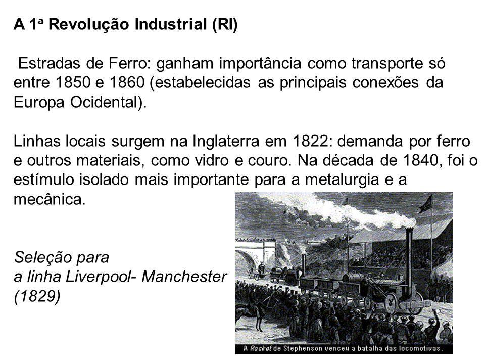 A 1 a Revolução Industrial (RI) Estradas de Ferro: ganham importância como transporte só entre 1850 e 1860 (estabelecidas as principais conexões da Eu