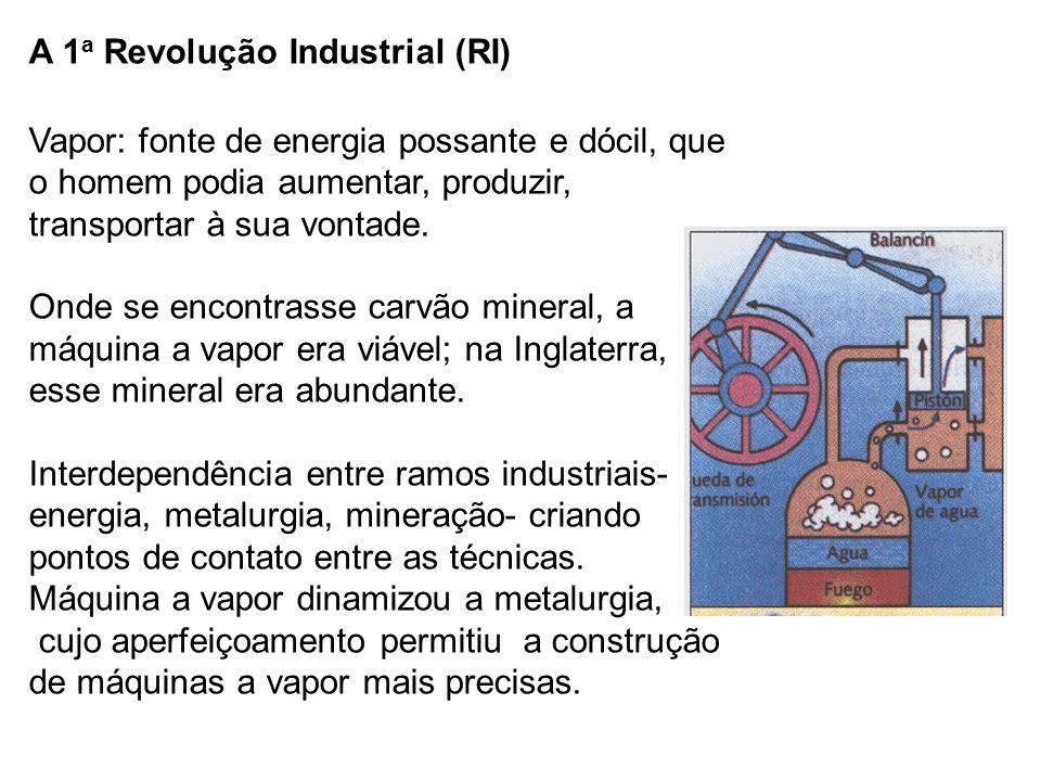 A 1 a Revolução Industrial (RI) Vapor: fonte de energia possante e dócil, que o homem podia aumentar, produzir, transportar à sua vontade.