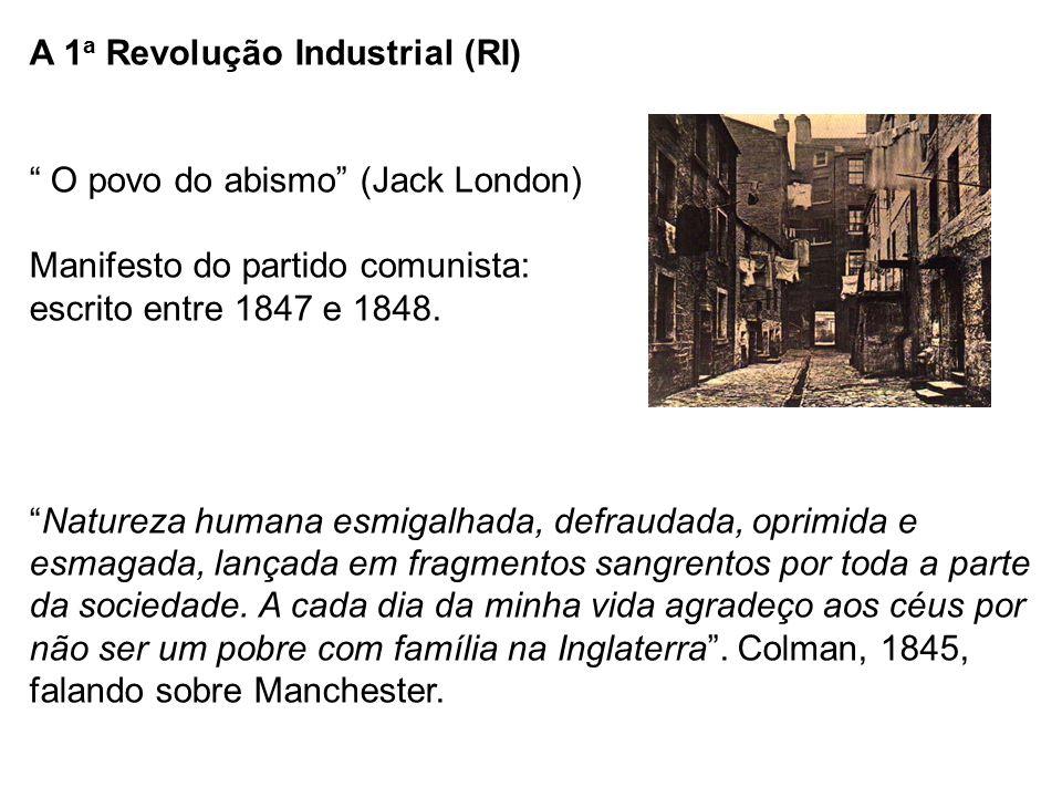 """A 1 a Revolução Industrial (RI) """" O povo do abismo"""" (Jack London) Manifesto do partido comunista: escrito entre 1847 e 1848. """"Natureza humana esmigalh"""