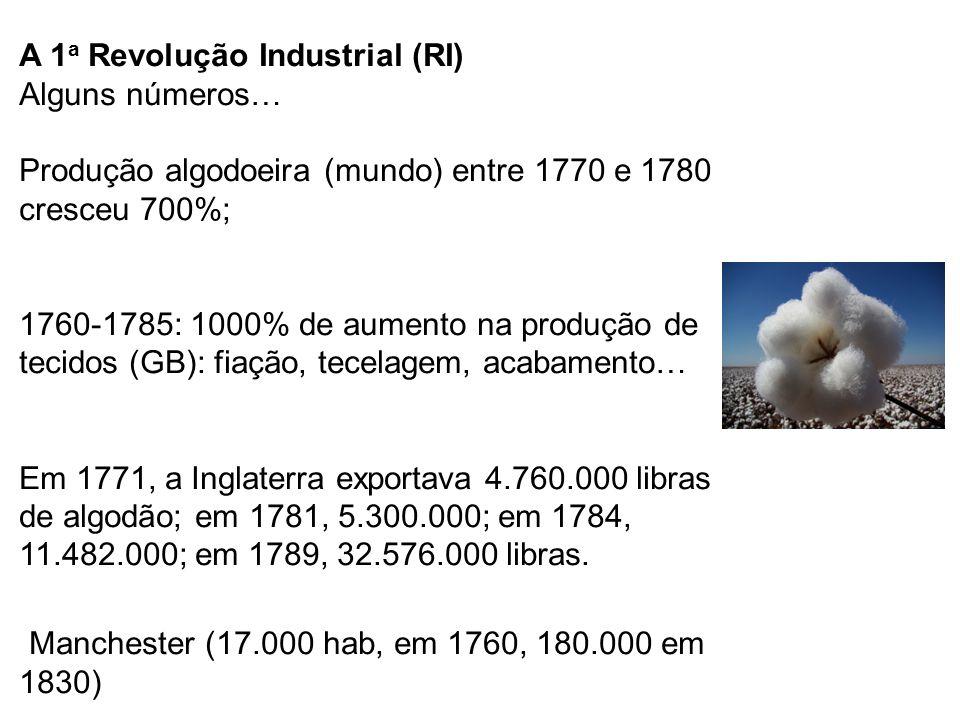 A 1 a Revolução Industrial (RI) Alguns números… Produção algodoeira (mundo) entre 1770 e 1780 cresceu 700%; 1760-1785: 1000% de aumento na produção de tecidos (GB): fiação, tecelagem, acabamento… Em 1771, a Inglaterra exportava 4.760.000 libras de algodão; em 1781, 5.300.000; em 1784, 11.482.000; em 1789, 32.576.000 libras.
