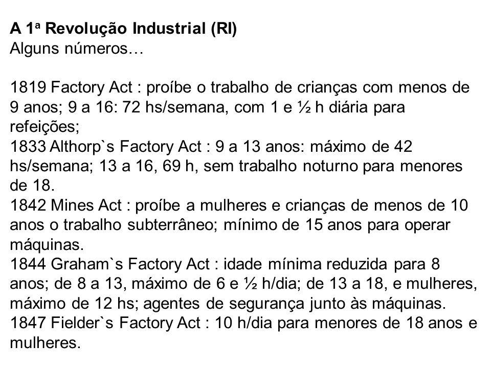 A 1 a Revolução Industrial (RI) Alguns números… 1819 Factory Act : proíbe o trabalho de crianças com menos de 9 anos; 9 a 16: 72 hs/semana, com 1 e ½ h diária para refeições; 1833 Althorp`s Factory Act : 9 a 13 anos: máximo de 42 hs/semana; 13 a 16, 69 h, sem trabalho noturno para menores de 18.