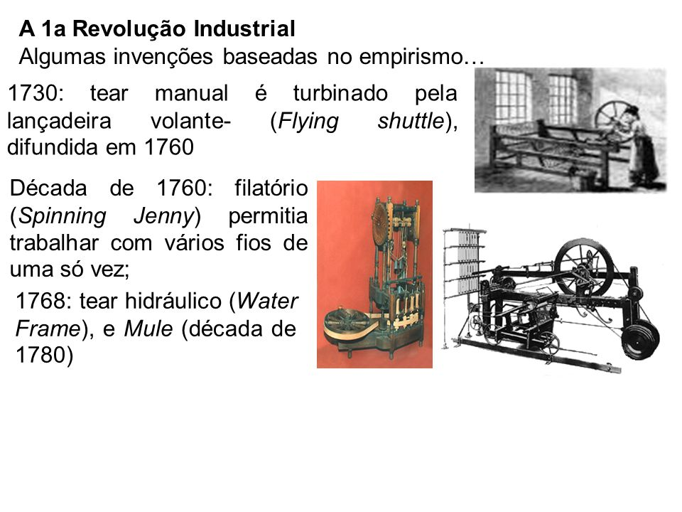 A 1a Revolução Industrial Algumas invenções baseadas no empirismo… 1730: tear manual é turbinado pela lançadeira volante- (Flying shuttle), difundida em 1760 Década de 1760: filatório (Spinning Jenny) permitia trabalhar com vários fios de uma só vez; 1768: tear hidráulico (Water Frame), e Mule (década de 1780)